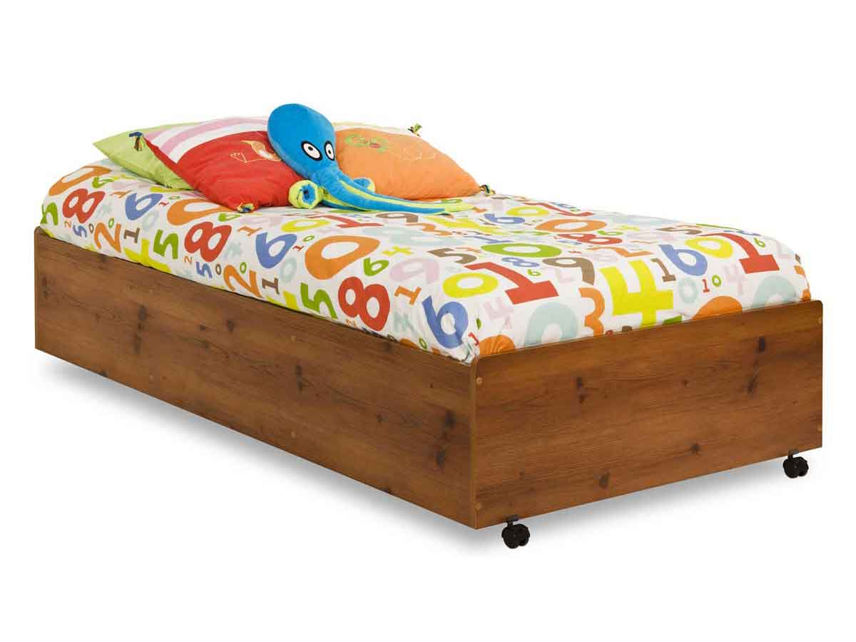 South Shore Logik Sunny Pine Twin Bed on Casters