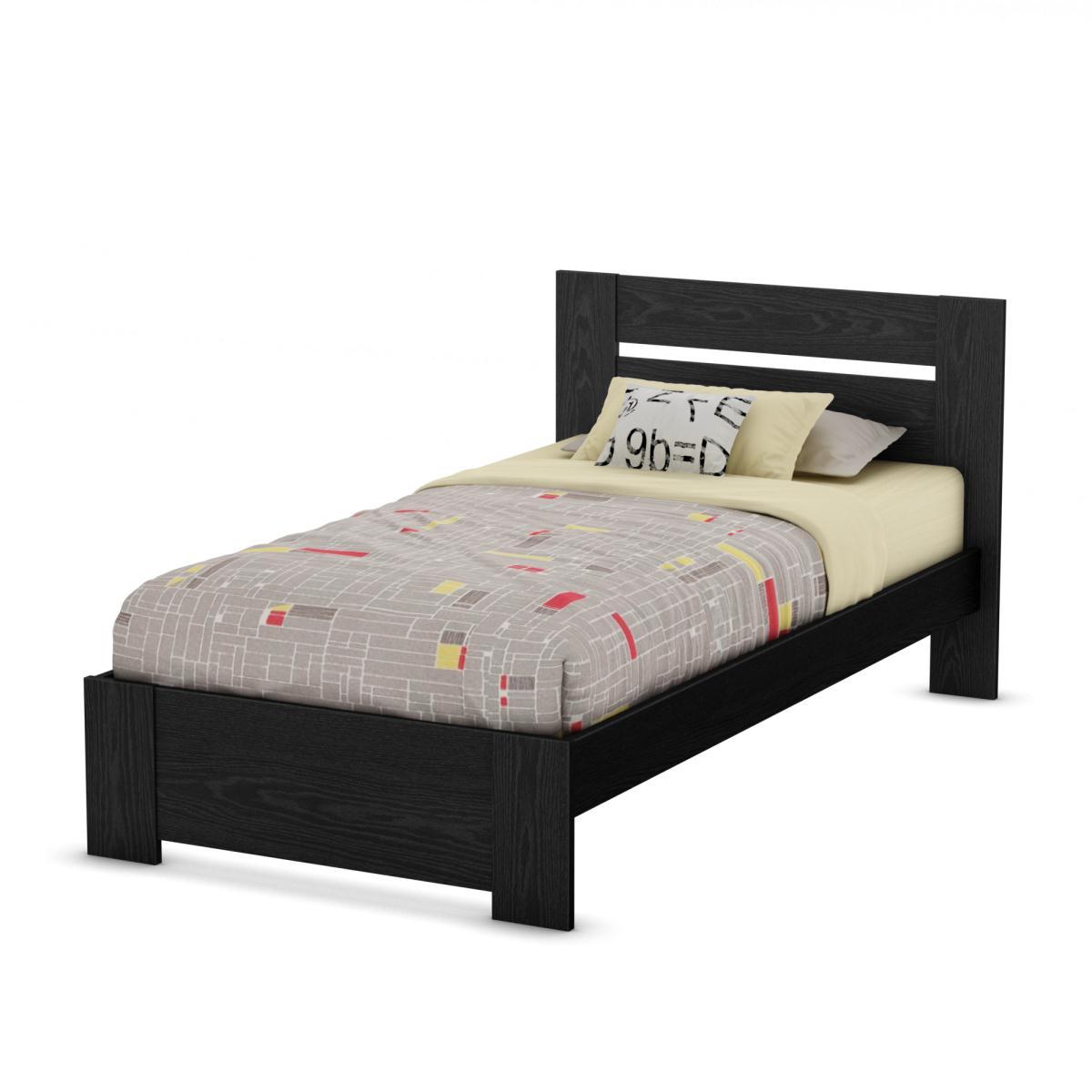 south shore flexible twin headboard footboard bed frame kit black oak - Black Wooden Bed Frame