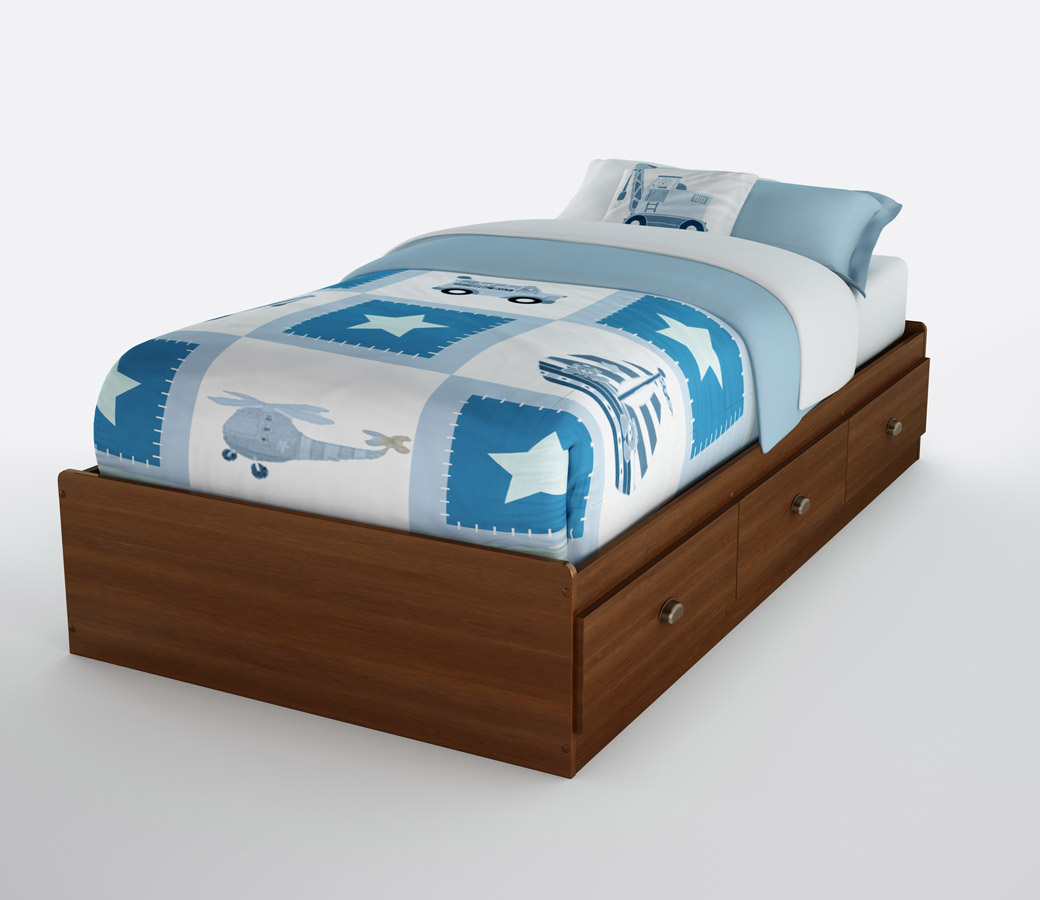 South Shore Willow Sumptuous Cherry Twin Mates Bed