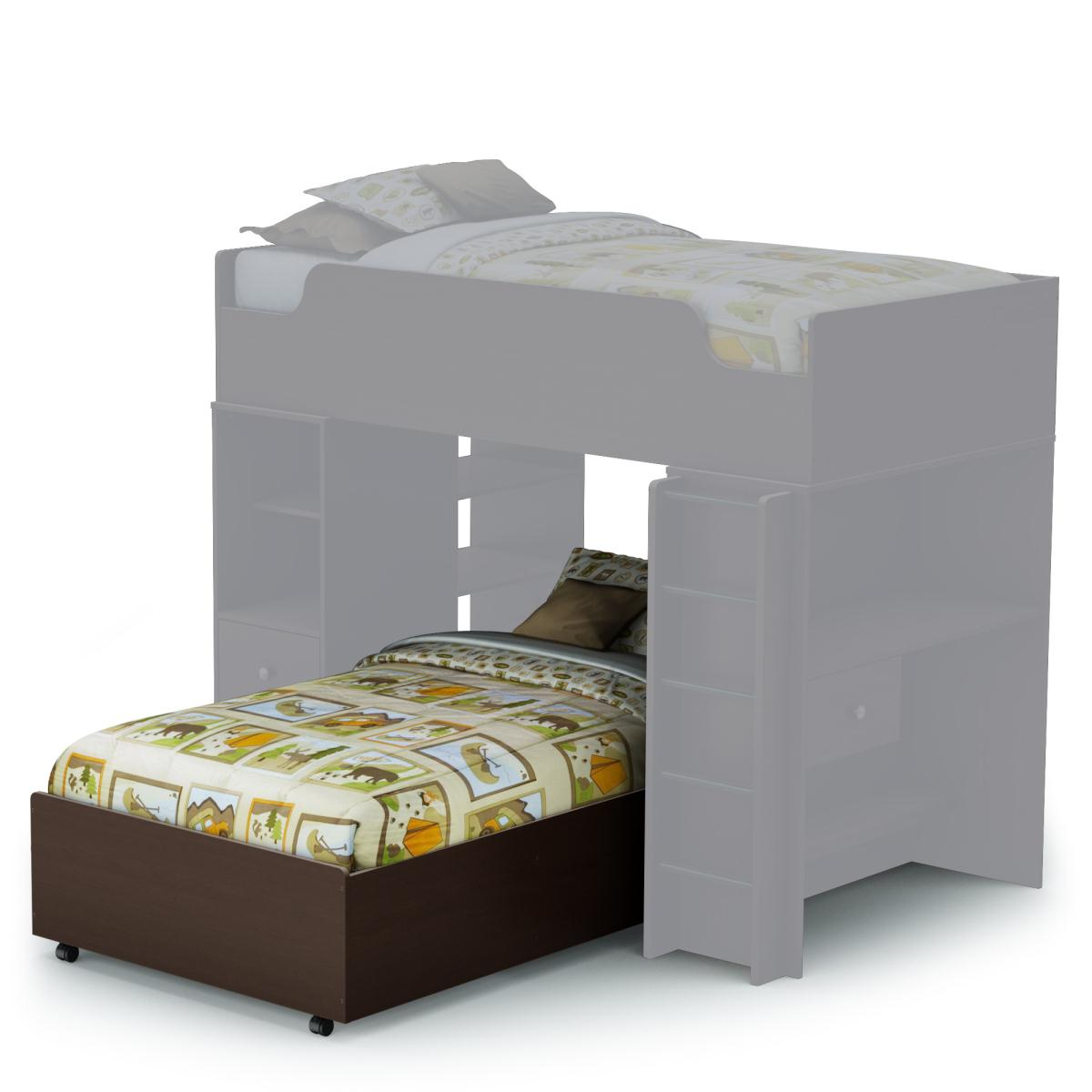 South Shore Logik Twin Bed on Casters - Chocolate
