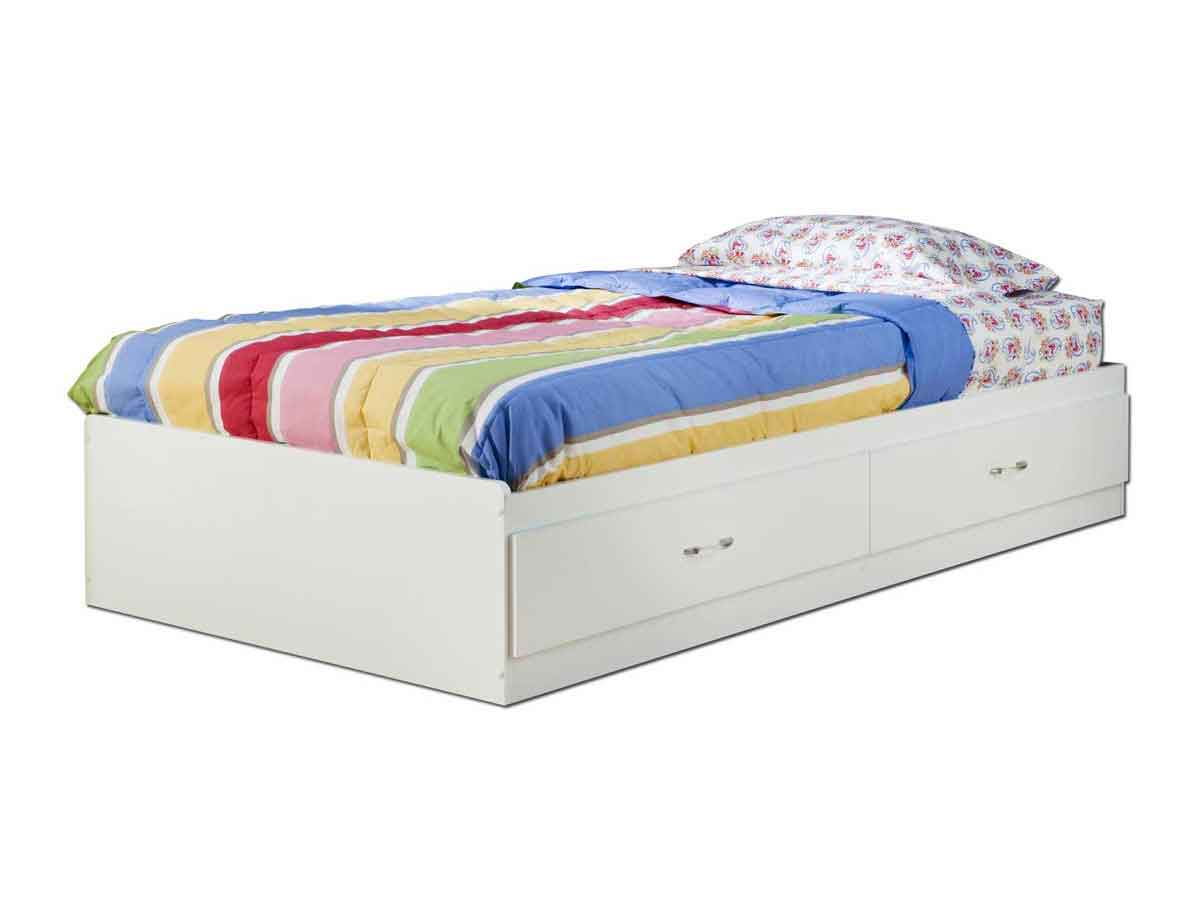 South Shore Logik Pure White Twin Mates Bed