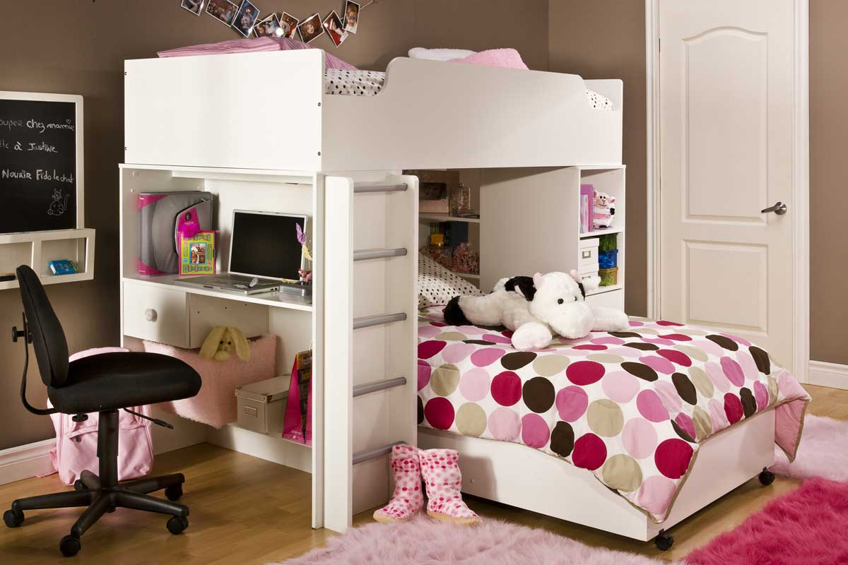 South Shore Logik Pure White Twin Bed on Casters