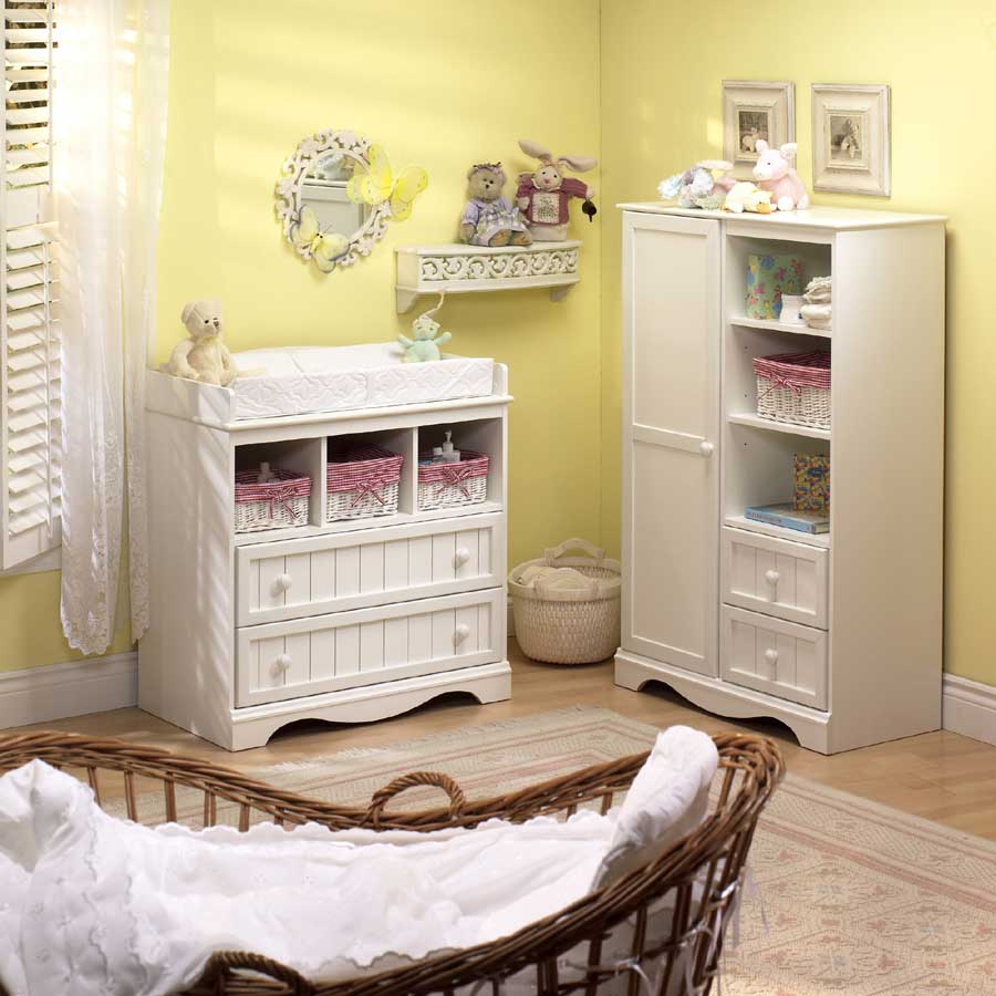 South shore country baby furniture pure white nursery for Baby furniture