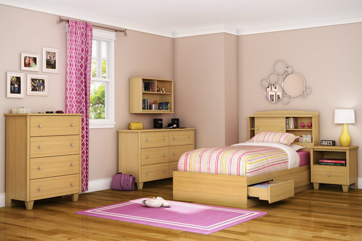 South Shore Clever Room Bedroom Set - Natural Maple 3613 ...
