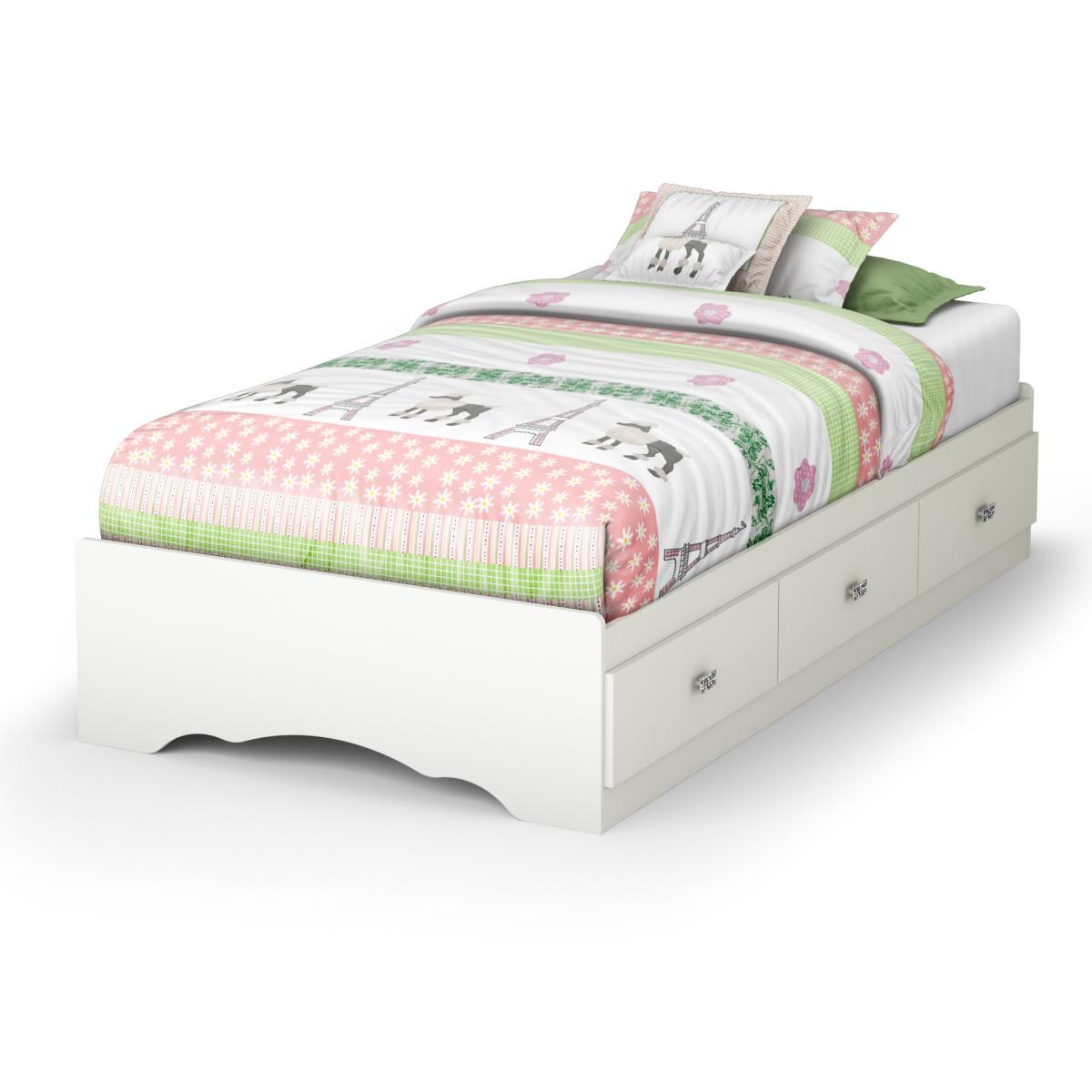 South Shore Tiara Twin Mates Bed - Pure White