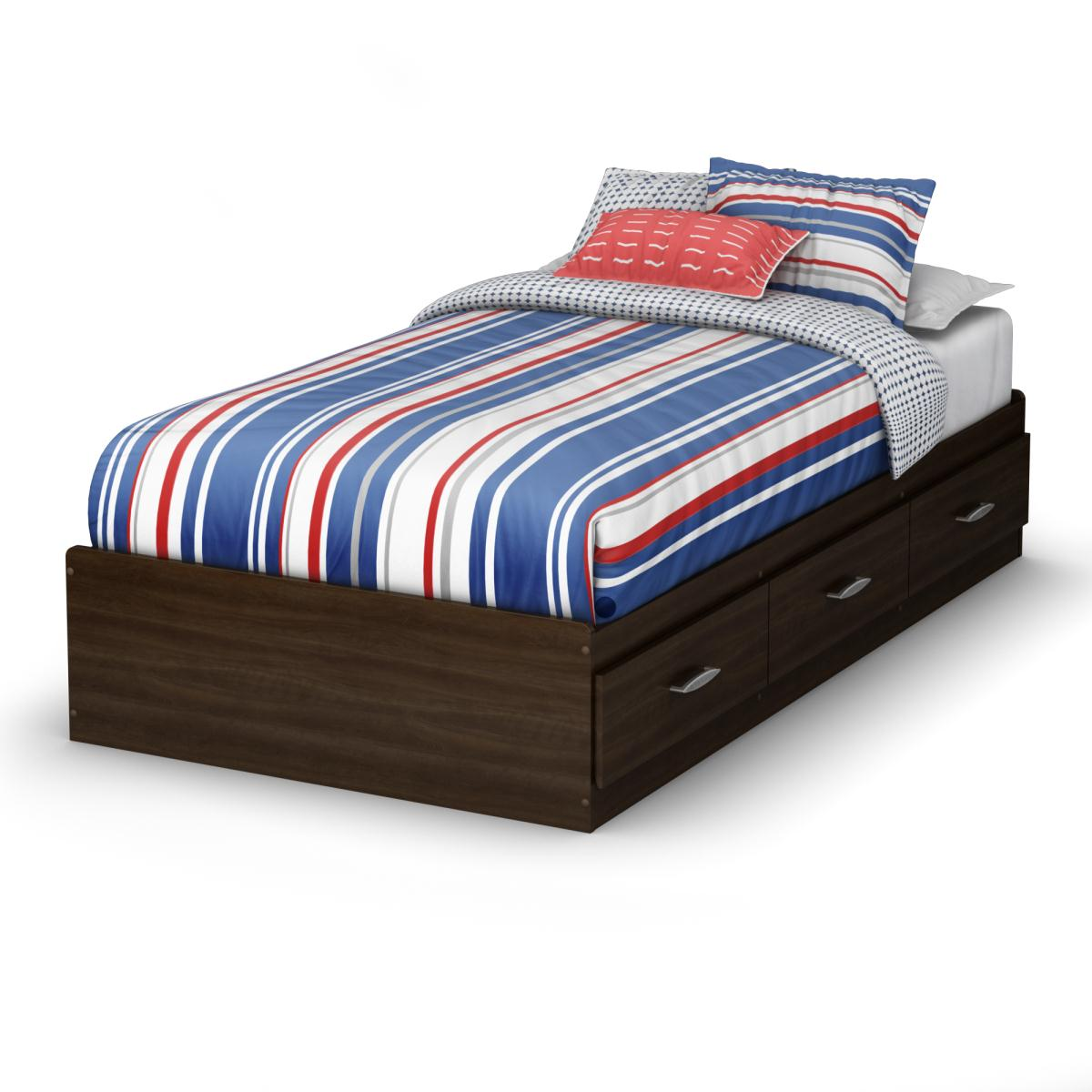 South Shore Highway Twin Mates Bed - Mocha
