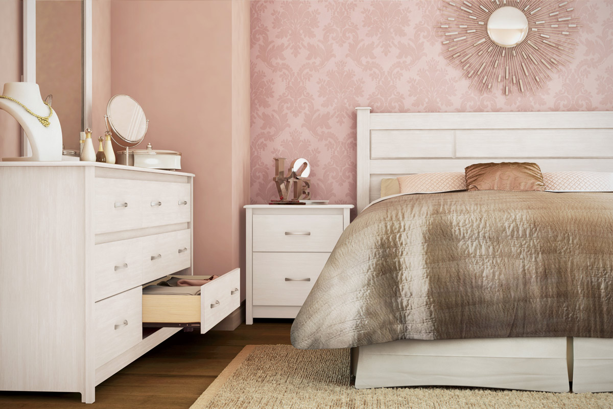 South Shore Vendome Bedroom Set White Wash 3810 Set At