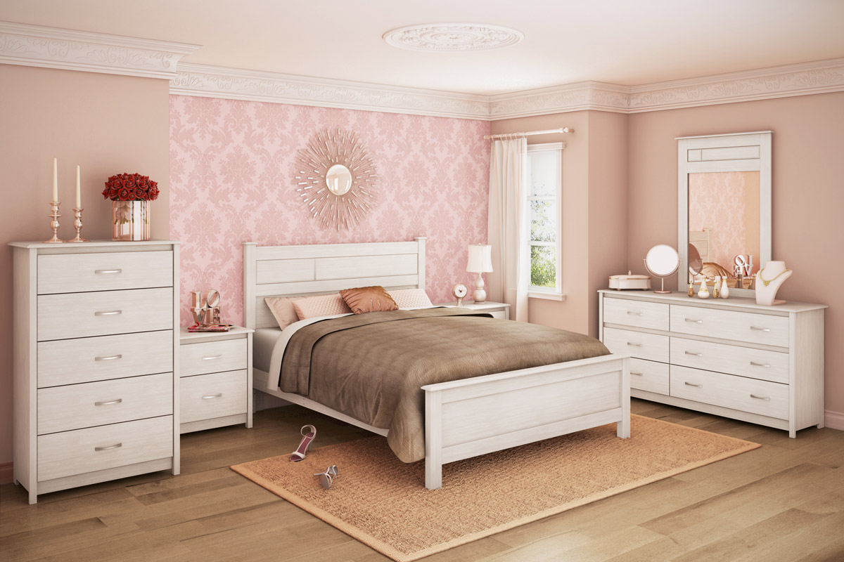 south shore vendome bedroom set white wash 3810 set at. Black Bedroom Furniture Sets. Home Design Ideas