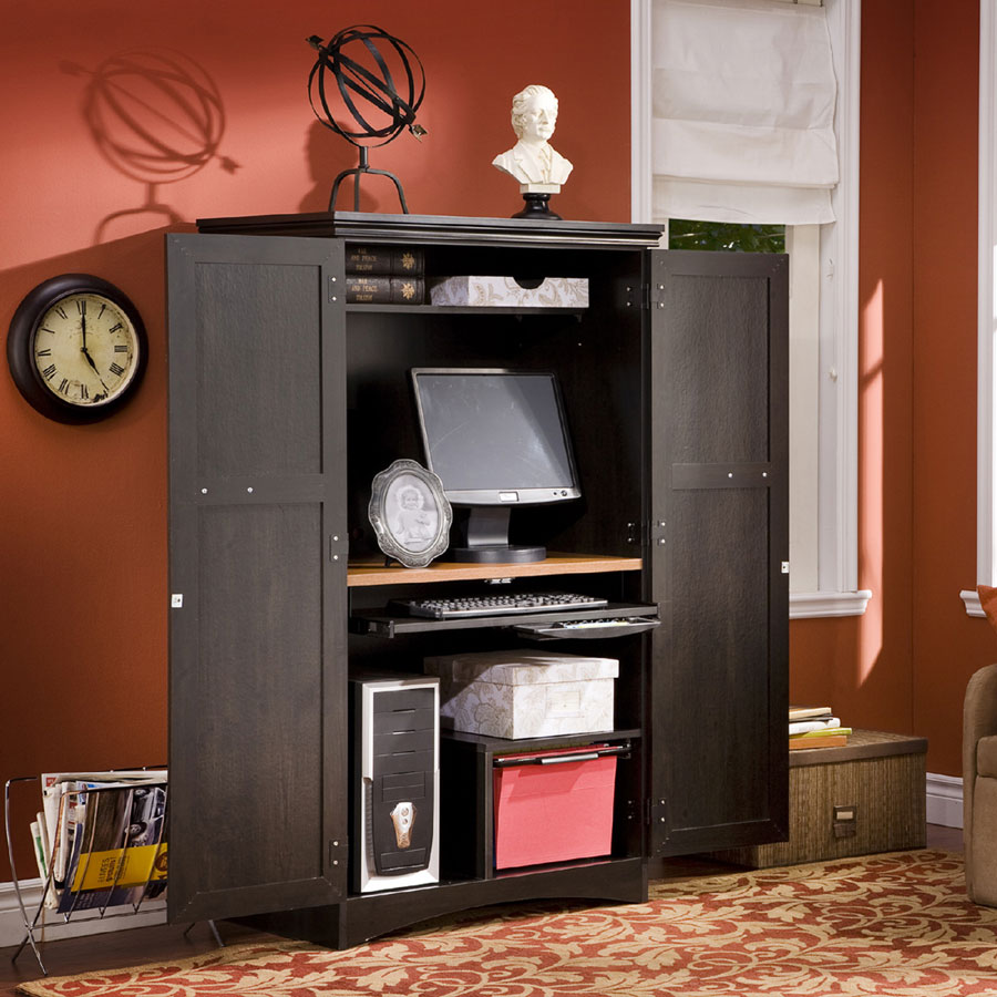 Cheap South Shore Gascony Ebony and Spice Wood Computer Armoire