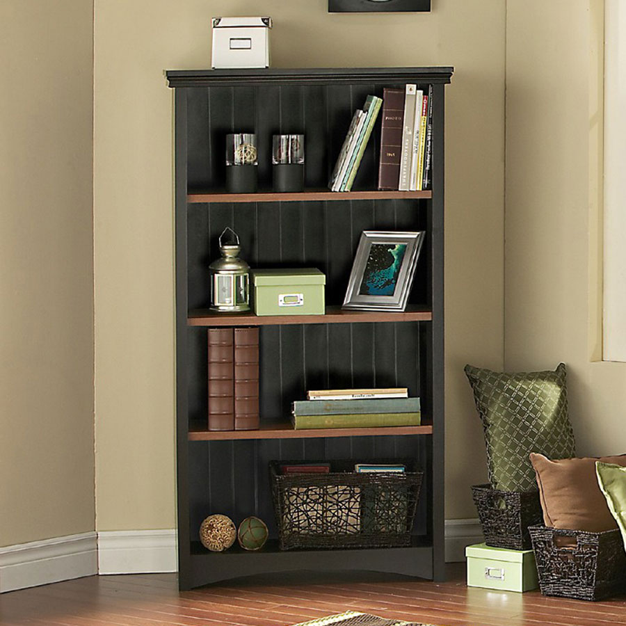 Gascony Ebony and Spice Wood Shelf Bookcase - South Shore