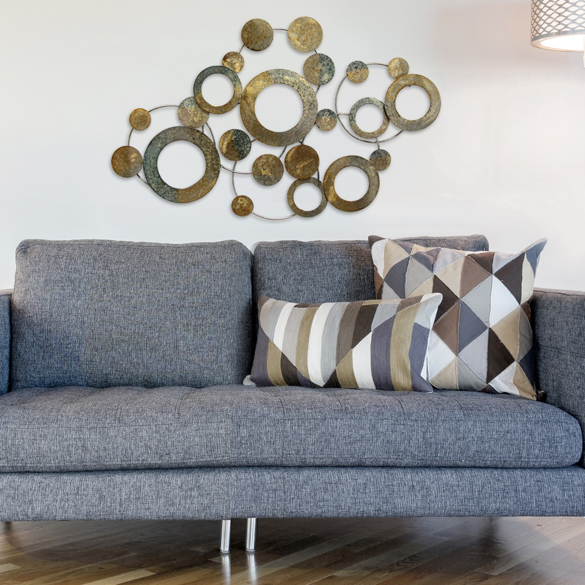 stratton home decor metal metallic circles wall decor - multi