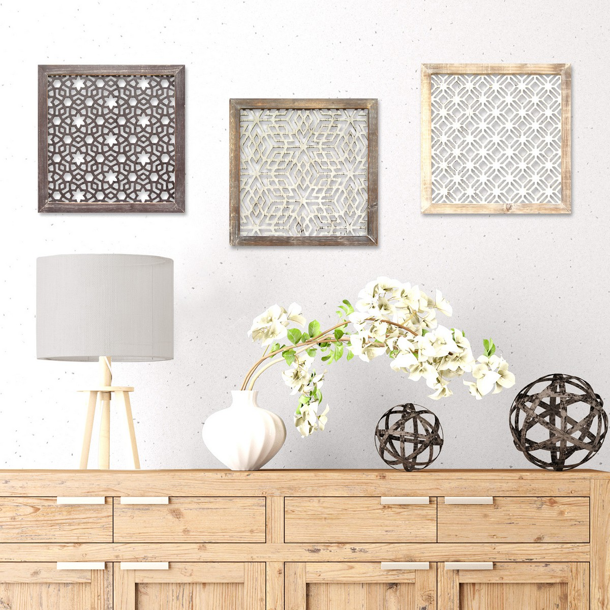 Stratton Home Decor Framed Laser-Cut Wall Decor (1pc) - Distressed White