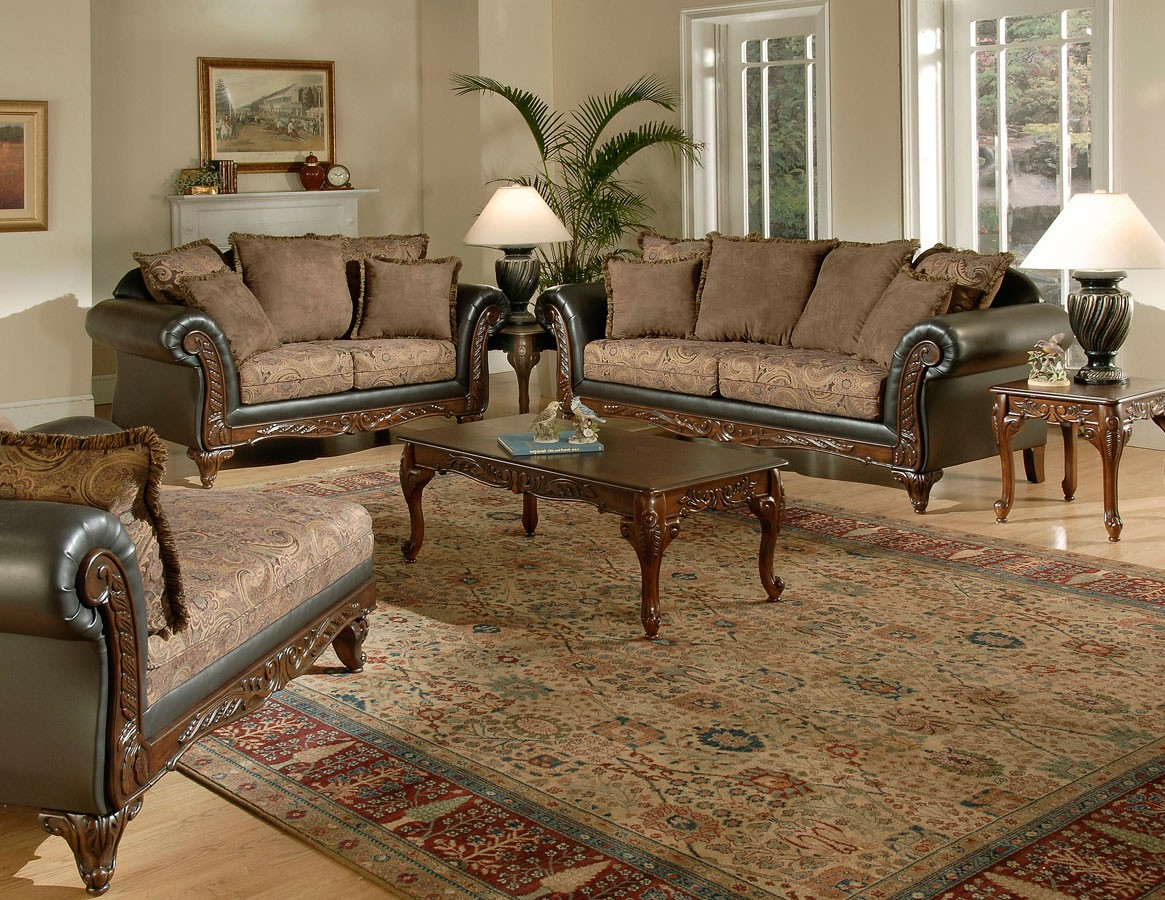 Serta upholstery ronalynn sofa set chocolate su 6768511 - Victorian living room set for sale ...