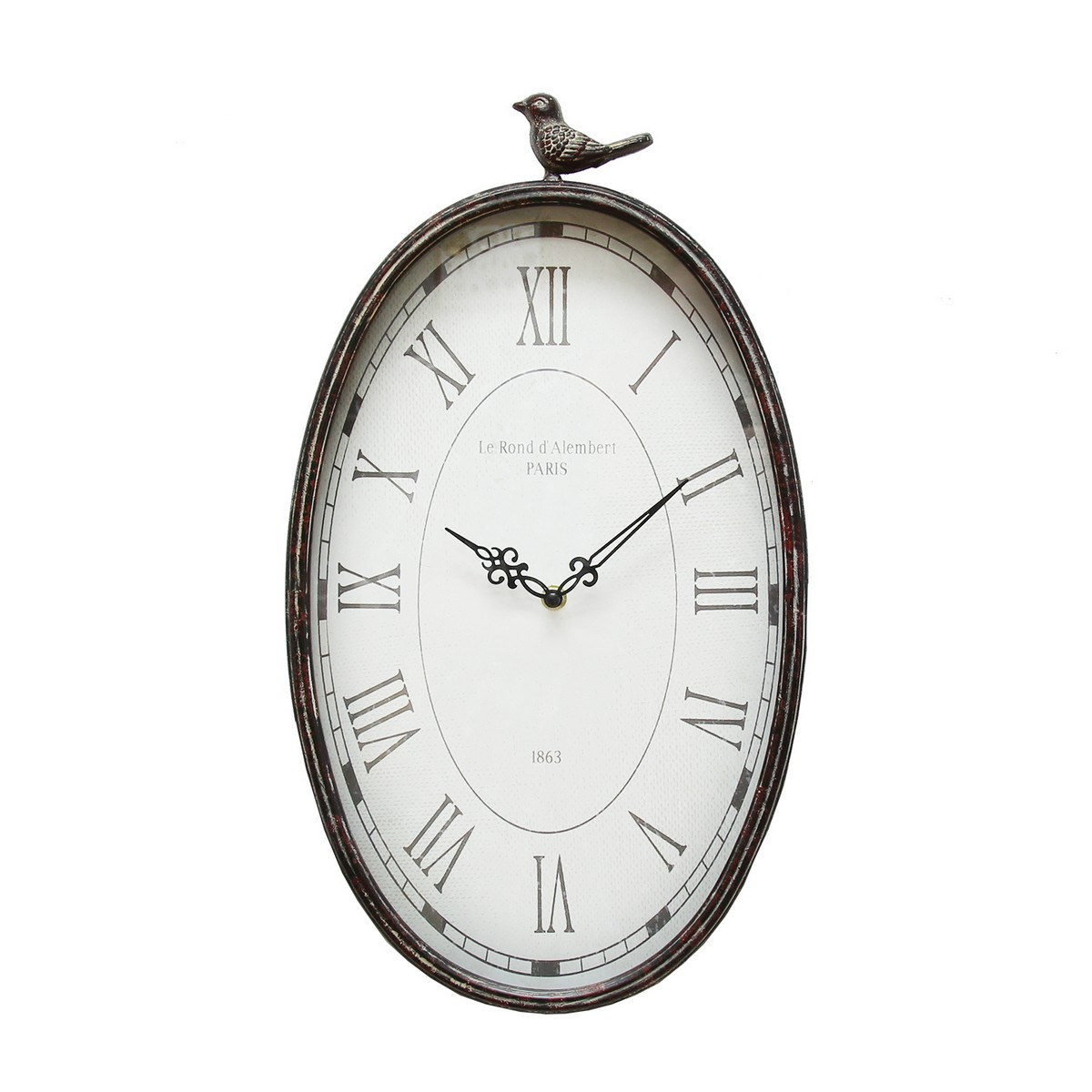 Stratton Home Decor Antique Oval Clock - Gunmetal