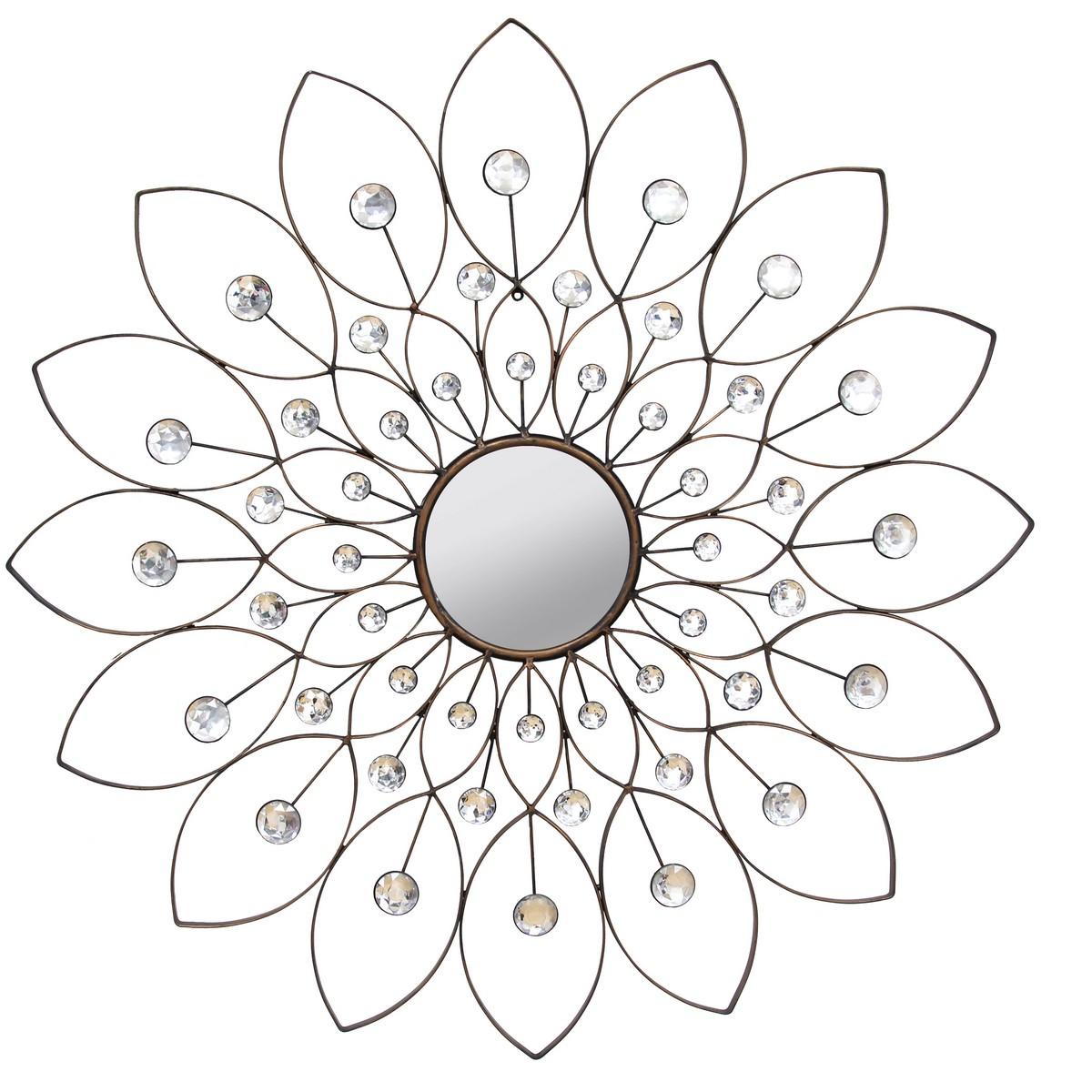 Stratton Home Decor Decorative Flower Mirror - Black
