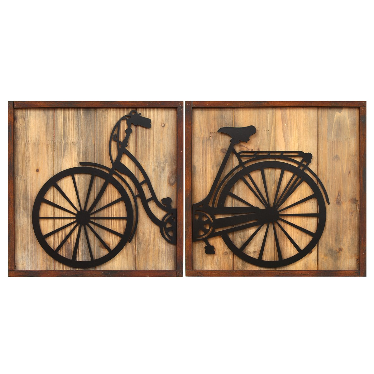 Stratton home decor set of 2 retro bicycle panels wall for Stratton house