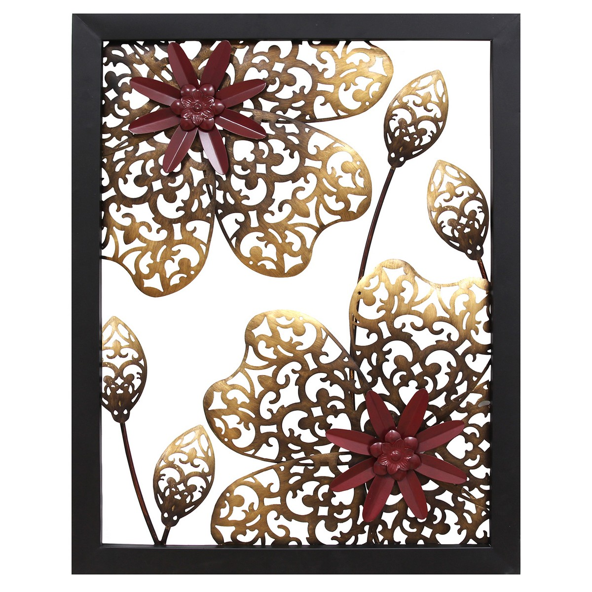 Stratton Home Decor Metal Flower Panel Wall Decor ...