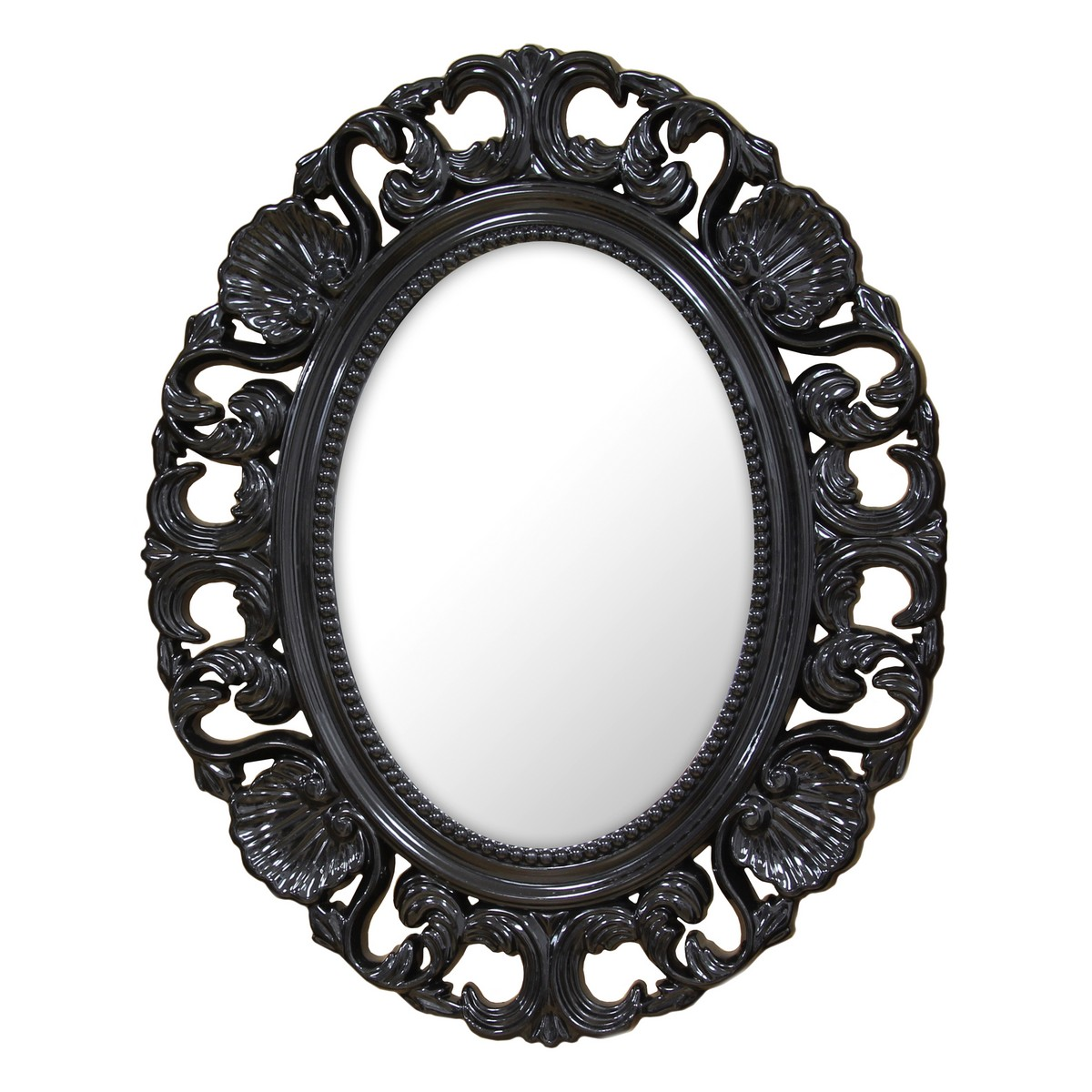Stratton home decor baroque mirror black shd0085 at for Plastic baroque mirror