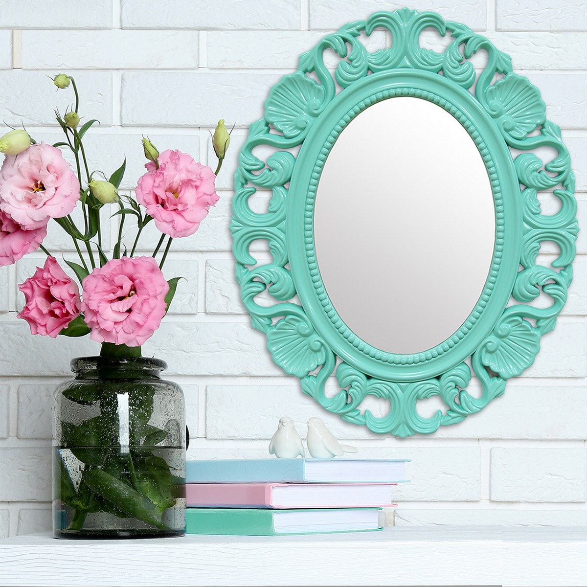 Stratton home decor baroque mirror teal shd0086 at for Plastic baroque mirror