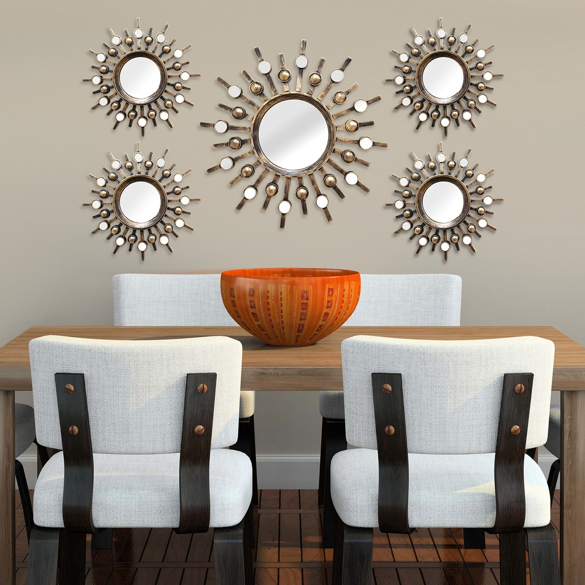 Stratton Home Decor 5 Piece Burst Mirrors - Bronze