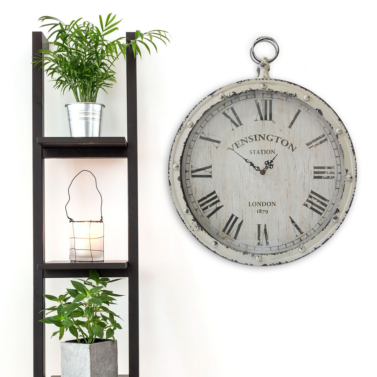 Stratton Home Decor Rustic Medallion Wall Art White ~ Stratton home decor pocket watch wall clock white