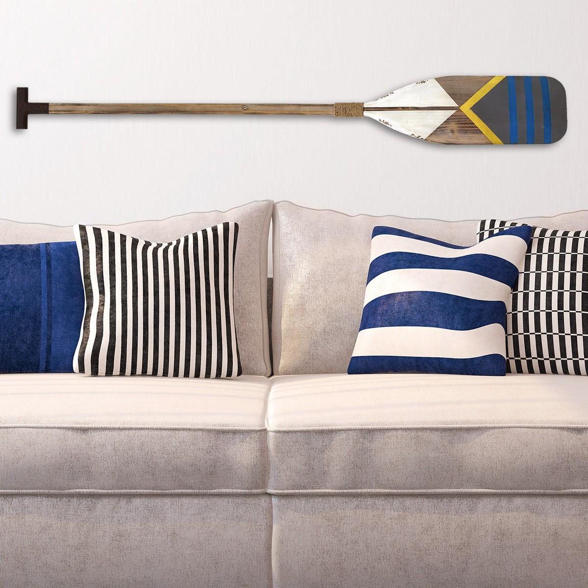 Stratton Home Decor Nautical Oar Wall Decor - Natural Wood/White/Yellow/Blue/Grey