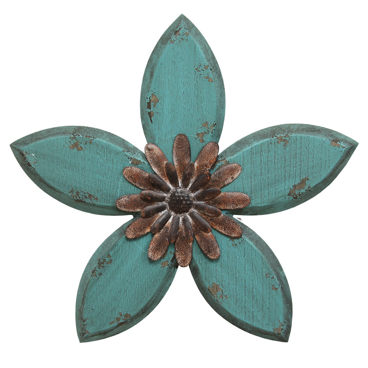 Vintage Teal Wall Decor : Stratton home decor antique flower wall teal red
