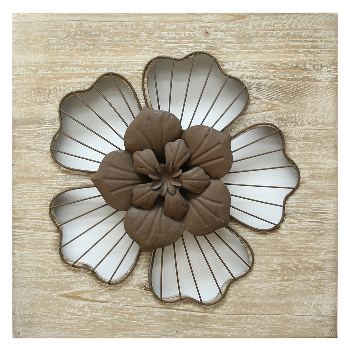 Stratton Home Decor Rustic Flower Wall Decor - Natural Wood/Espresso