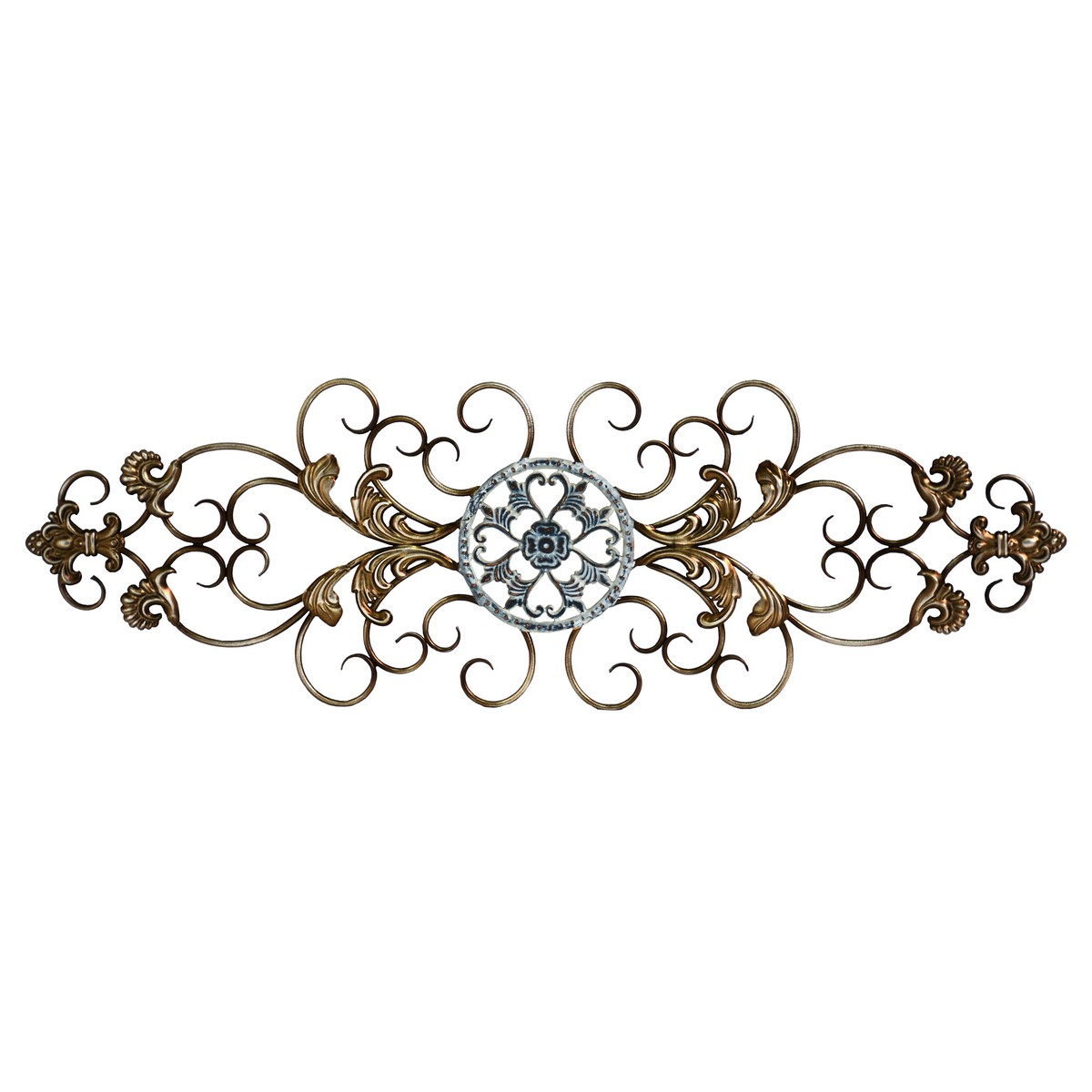 Stratton Home Decor Traditional Scroll Wall Decor - Champagne and Distressed Blue