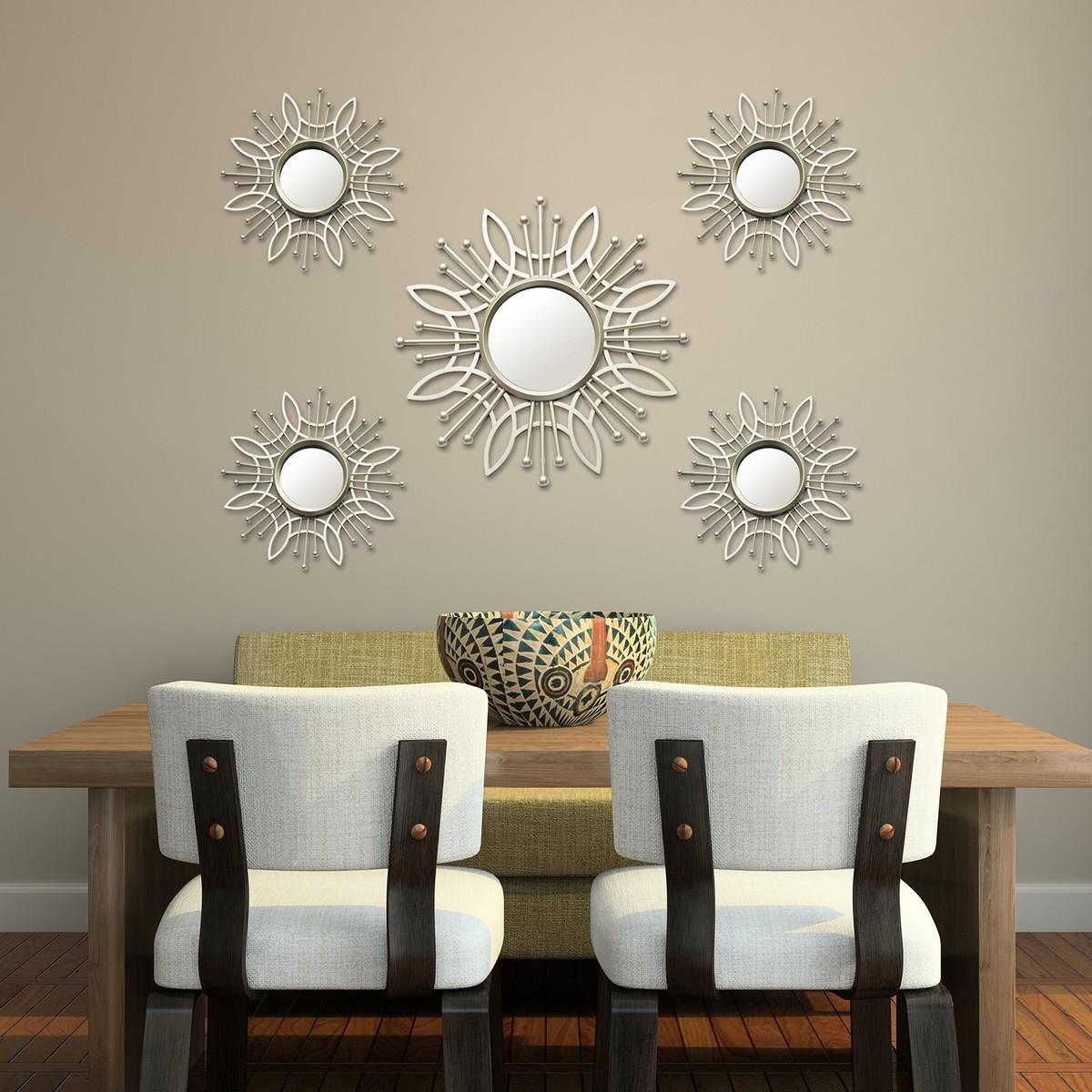 stratton home decor 5 piece champagne burst wall mirror
