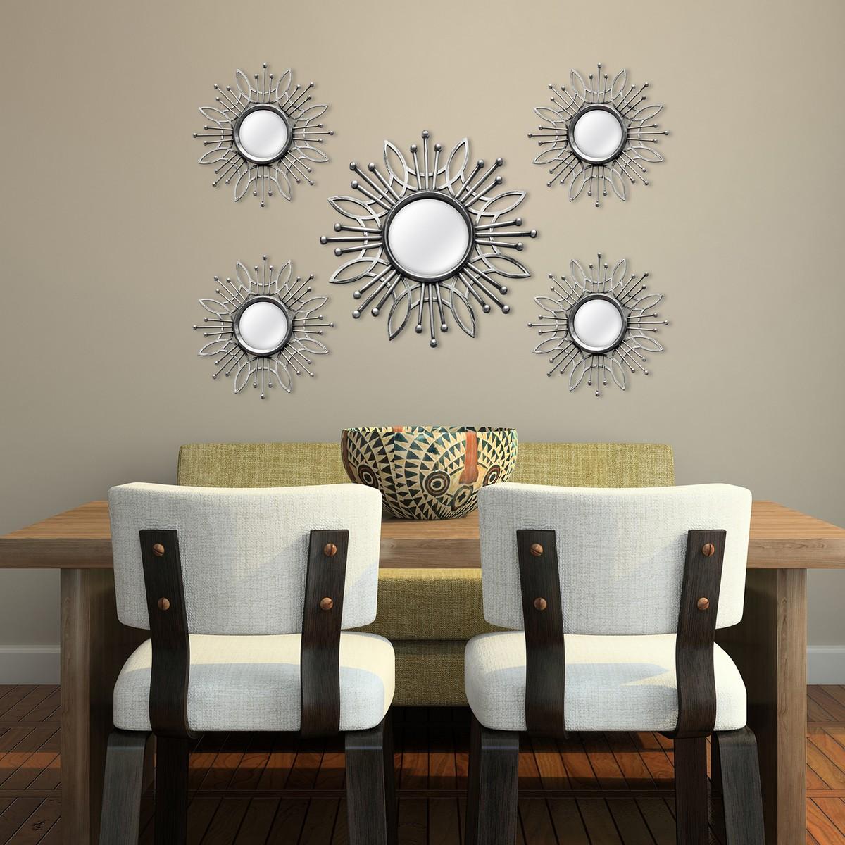 Stratton Home Decor 5 Piece Silver Burst Wall Mirror - Silver