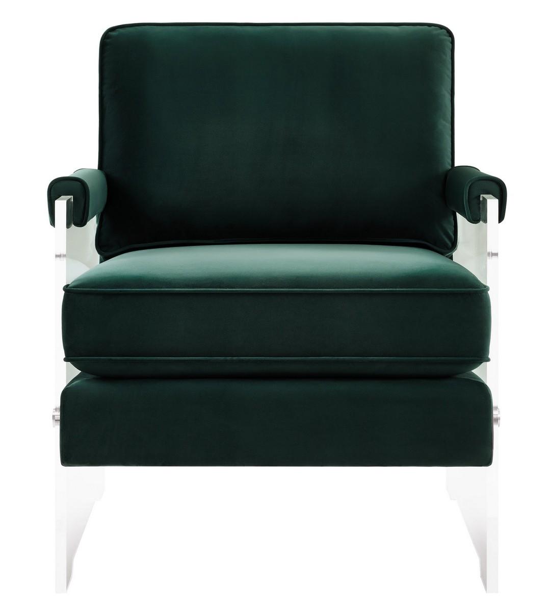 TOV Furniture Serena Green Velvet/Lucite Chair