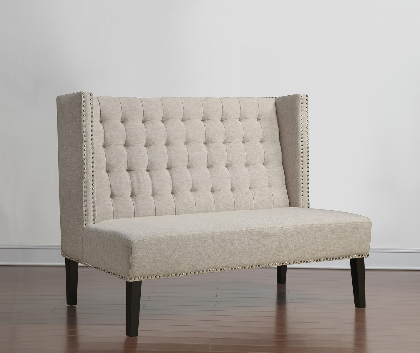 Tov furniture halifax beige linen banquette bench 63114 for Banquette bench