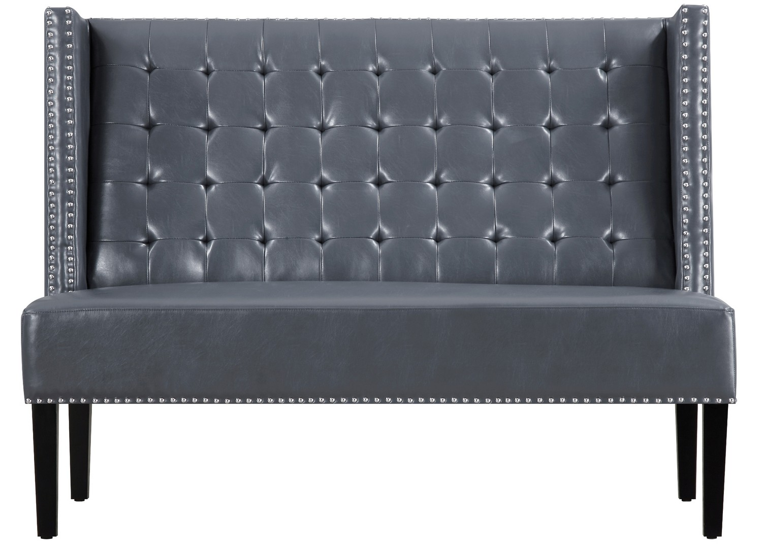 TOV Furniture Halifax Grey Leather Banquette Bench