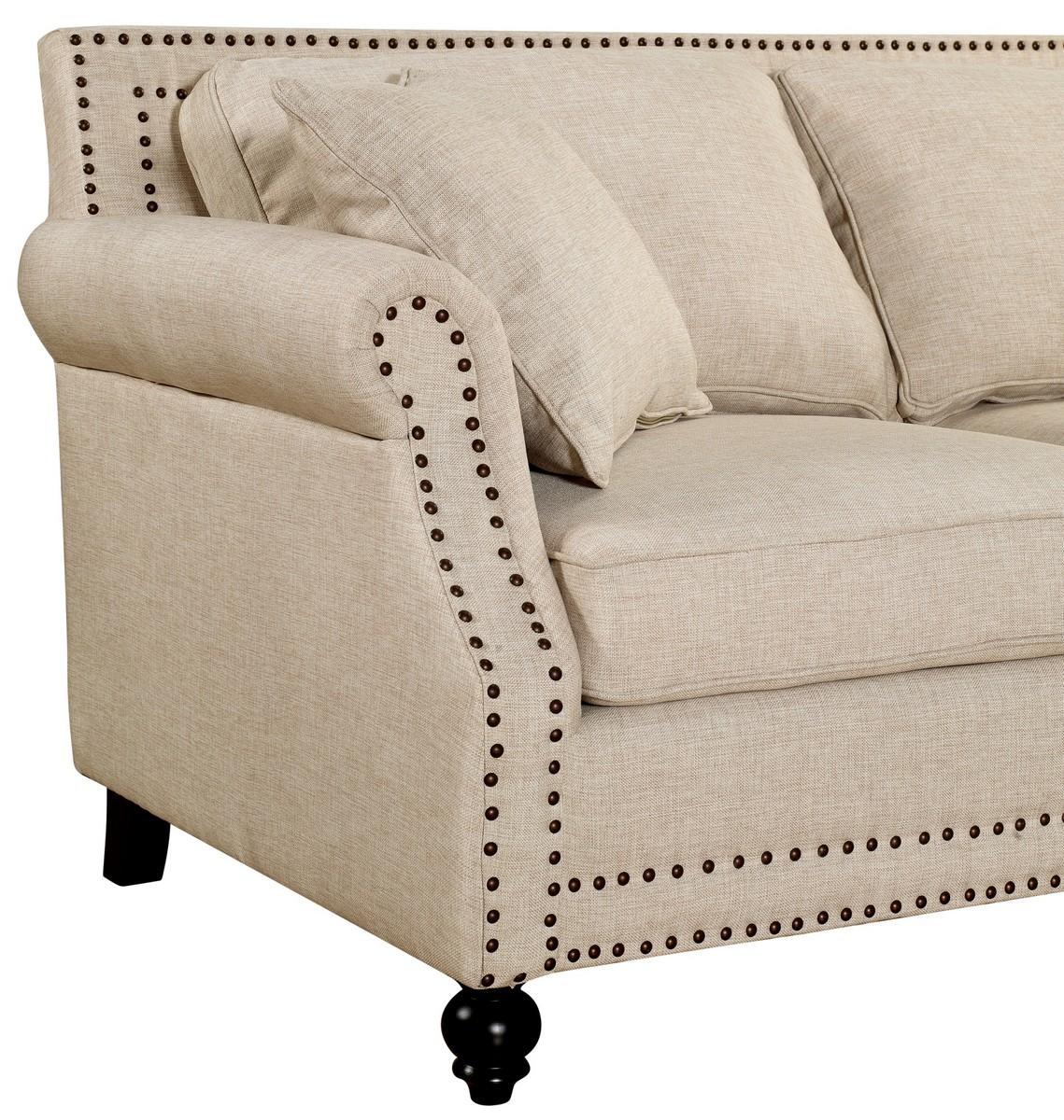 TOV Furniture Camden Beige Linen Sofa