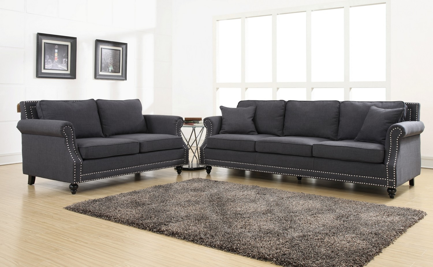 TOV Furniture Camden Grey Linen Living Room Set