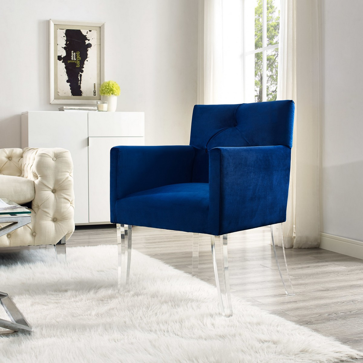 TOV Furniture Lafayette Navy Velvet Acrylic Chair