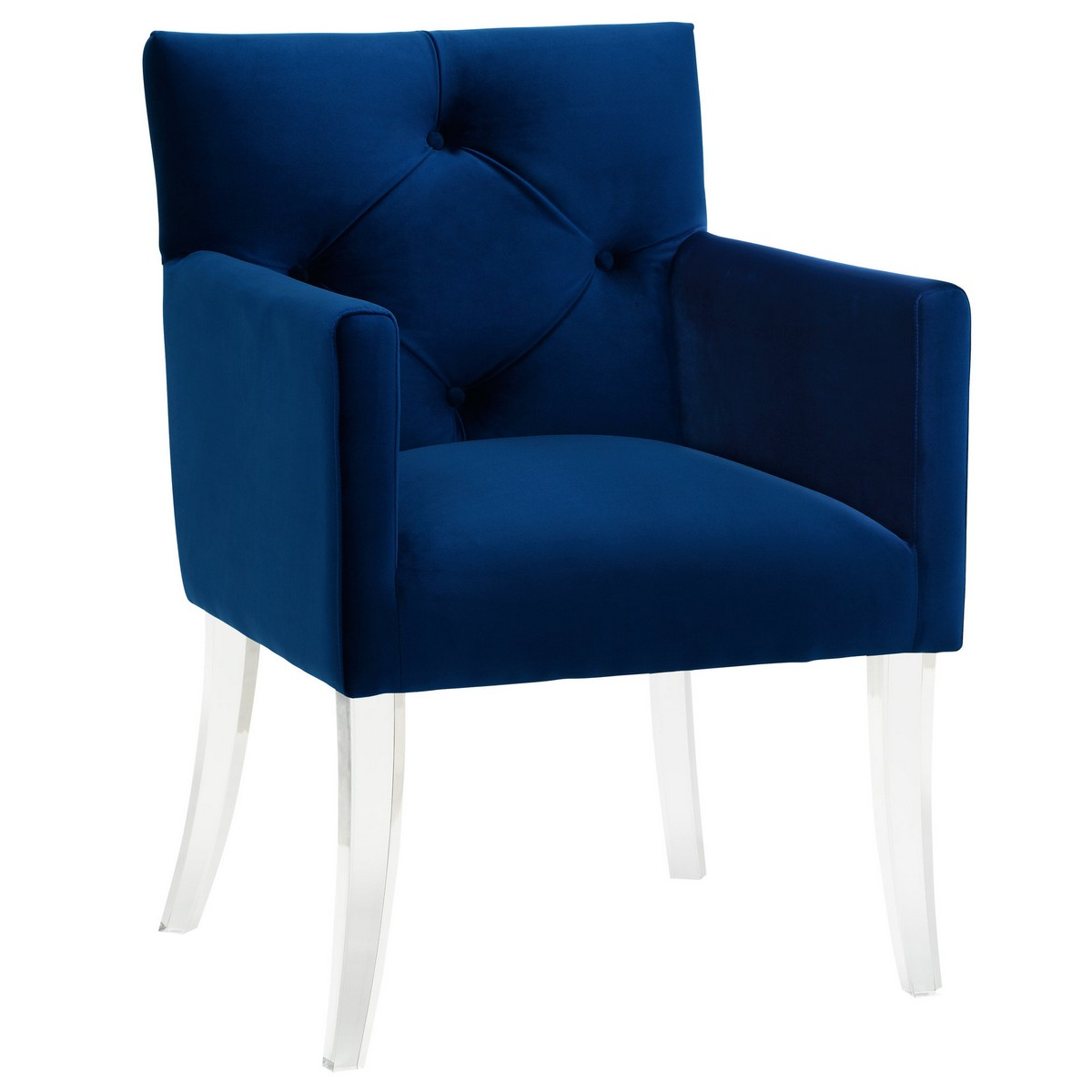 Elegant TOV Furniture Lafayette Navy Velvet Acrylic Chair