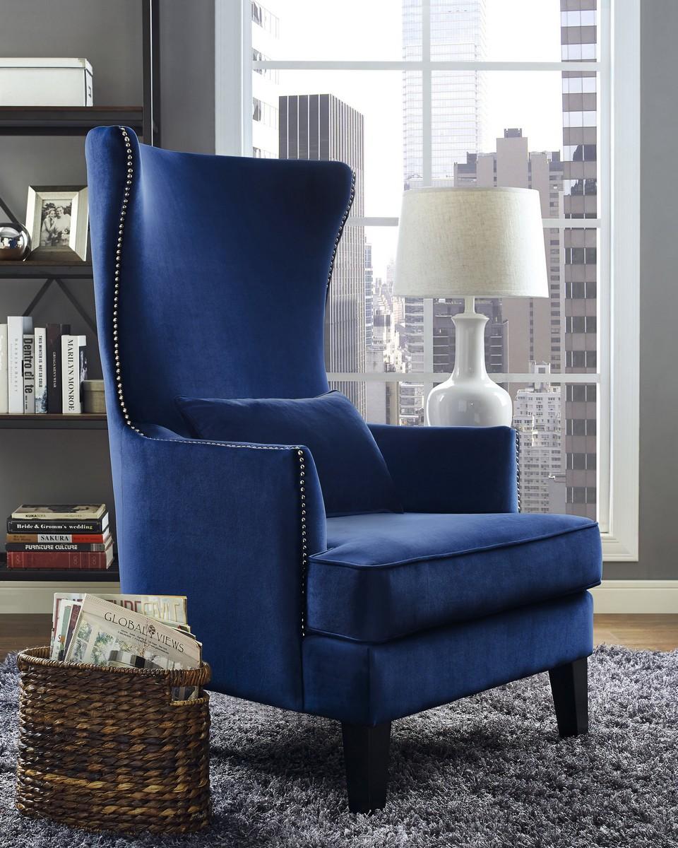 Bon TOV Furniture Bristol Navy Tall Chair