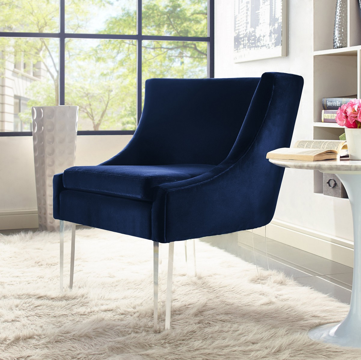 TOV Furniture Myra Blue Velvet Chair