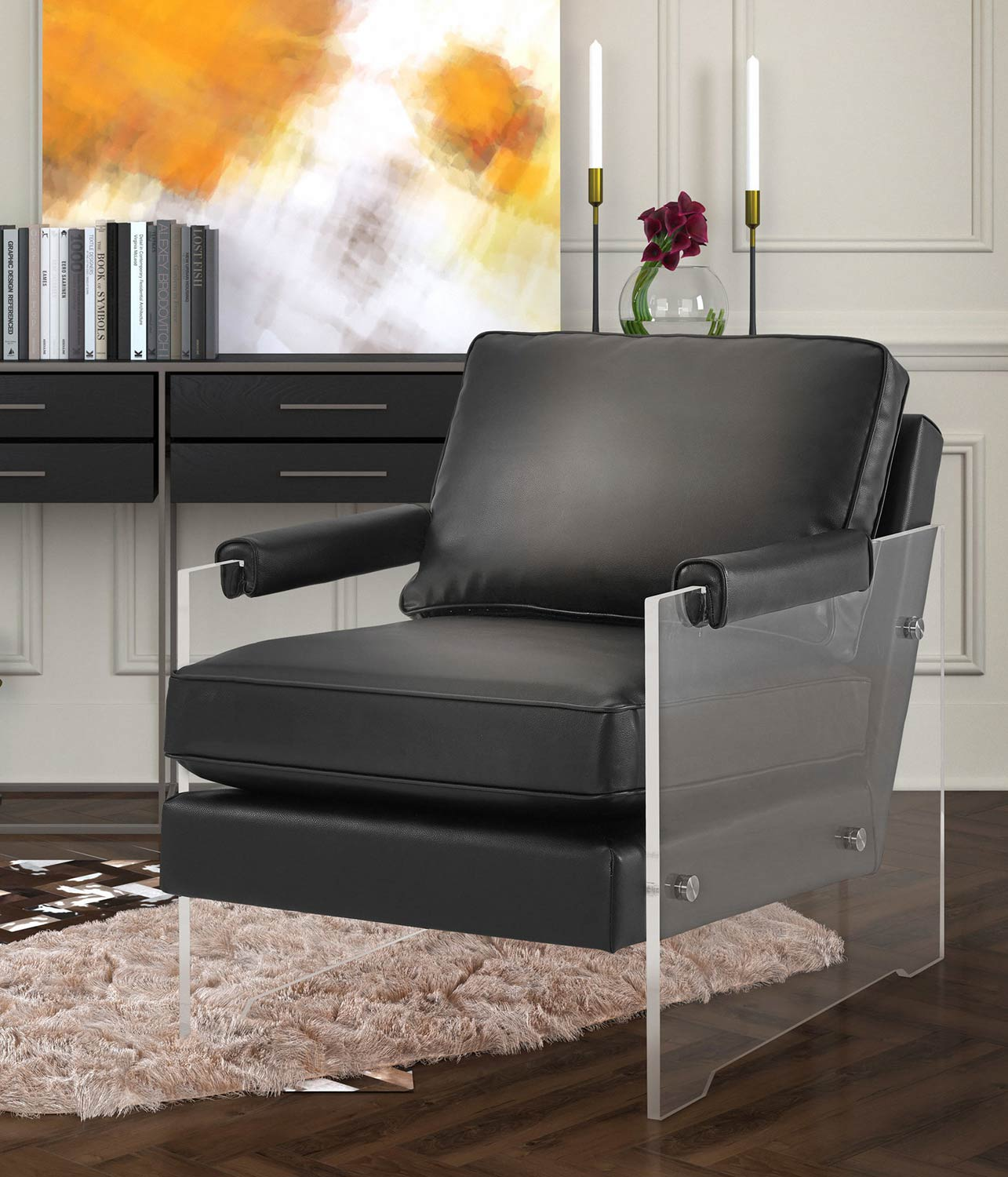 TOV Furniture Serena Eco Leather/Lucite Chair - Black