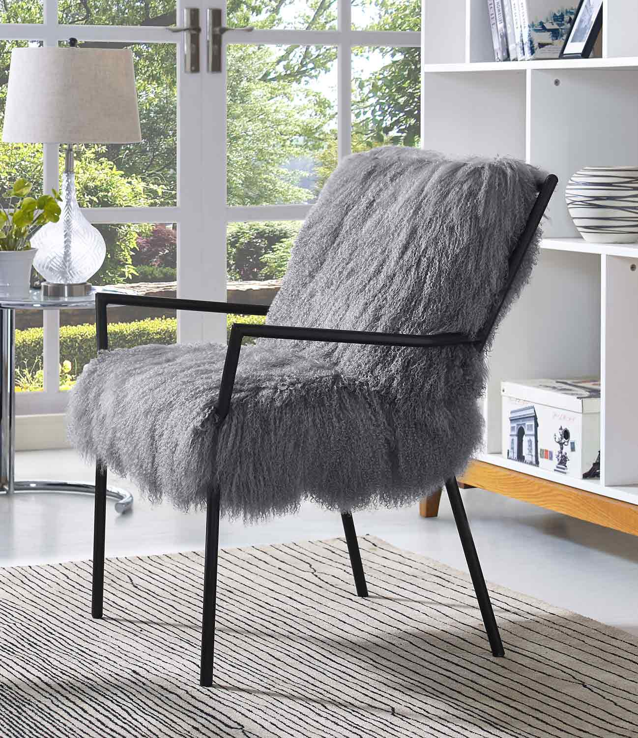 Tov Furniture Lena Sheepskin Chair Grey Black A130 At