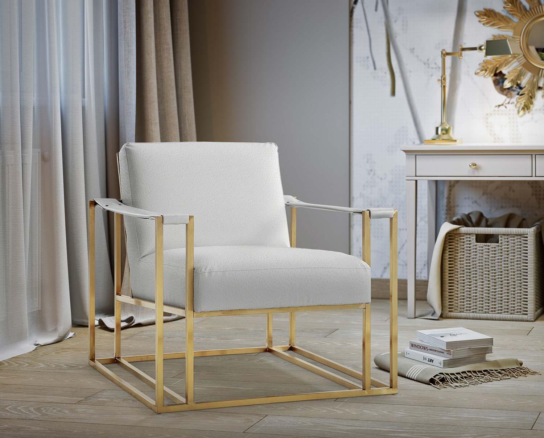 TOV Furniture Baxter Ostrich Print Chair - Cream