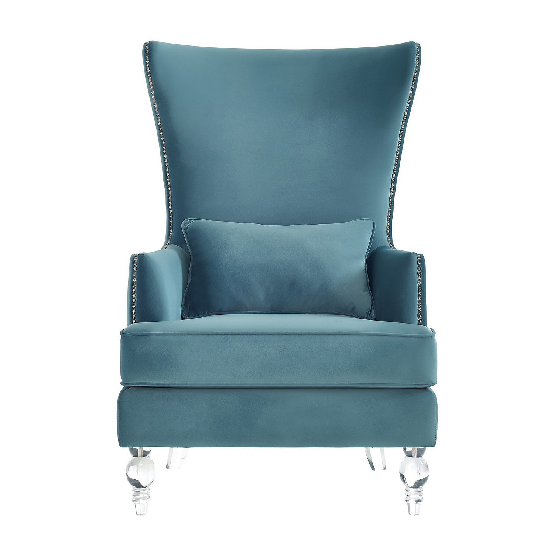 TOV Furniture Bristol Chair with Lucite Legs - Sea Blue