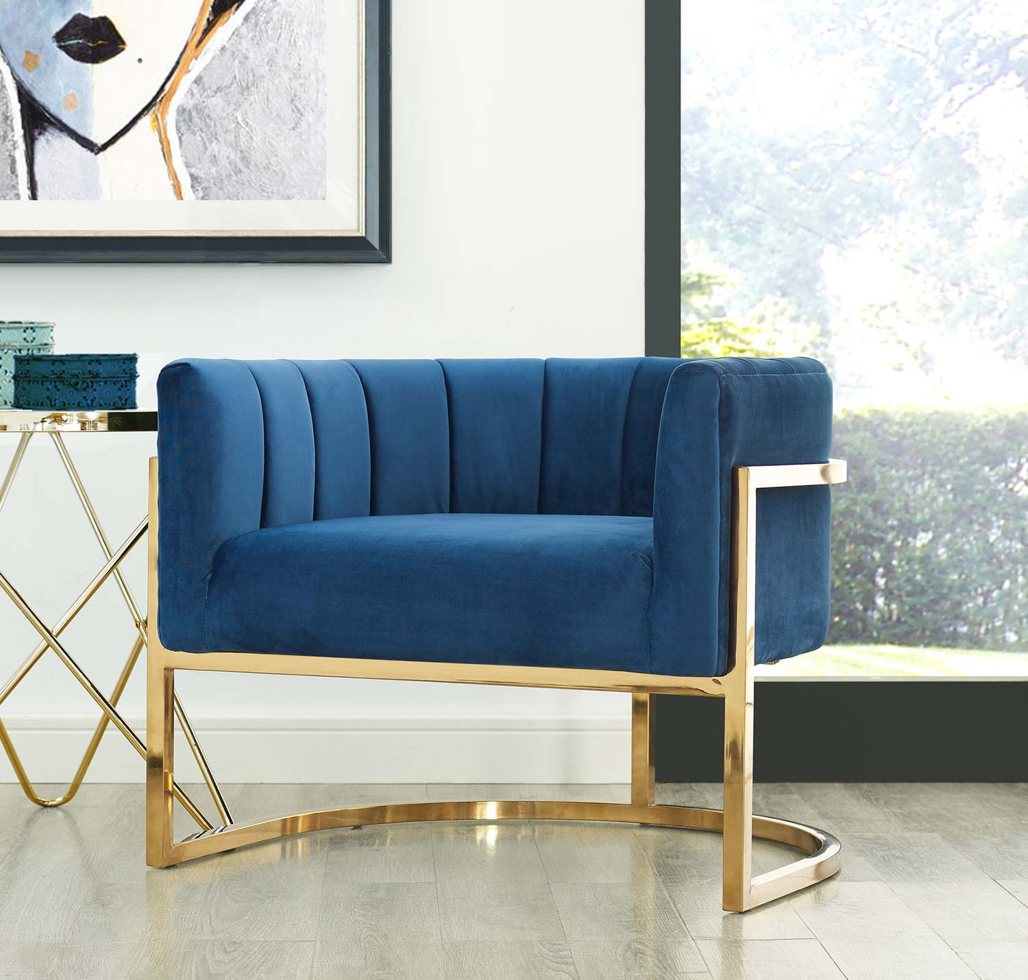 Tov Furniture Magnolia Chair With Gold Base Navy A146 At