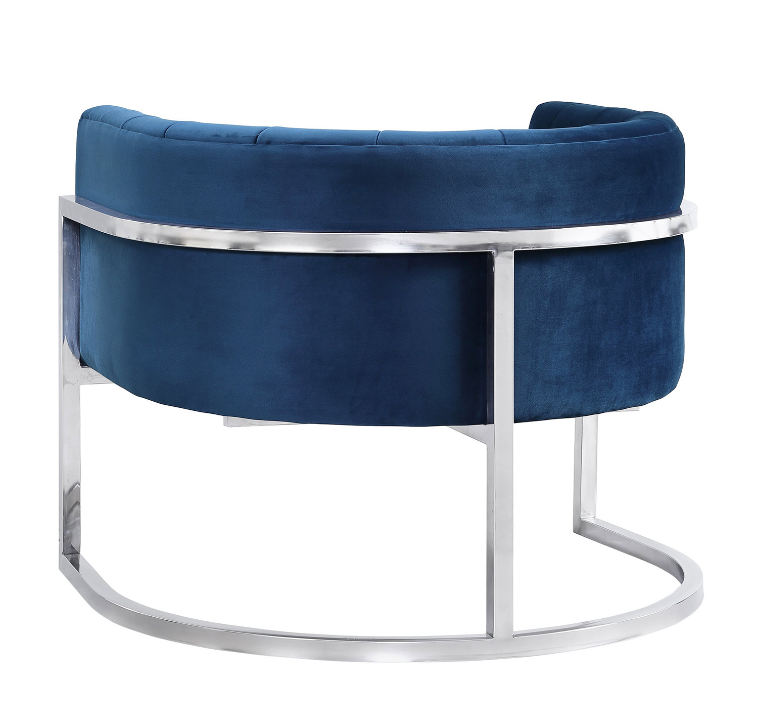 TOV Furniture Magnolia Chair with Silver Base - Navy