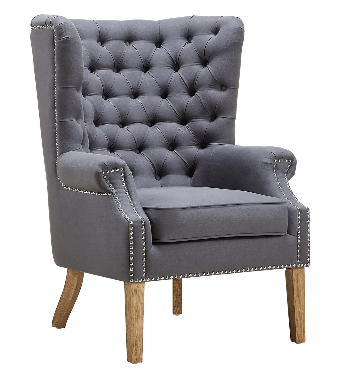 TOV Furniture Abe Grey Linen Wing Chair