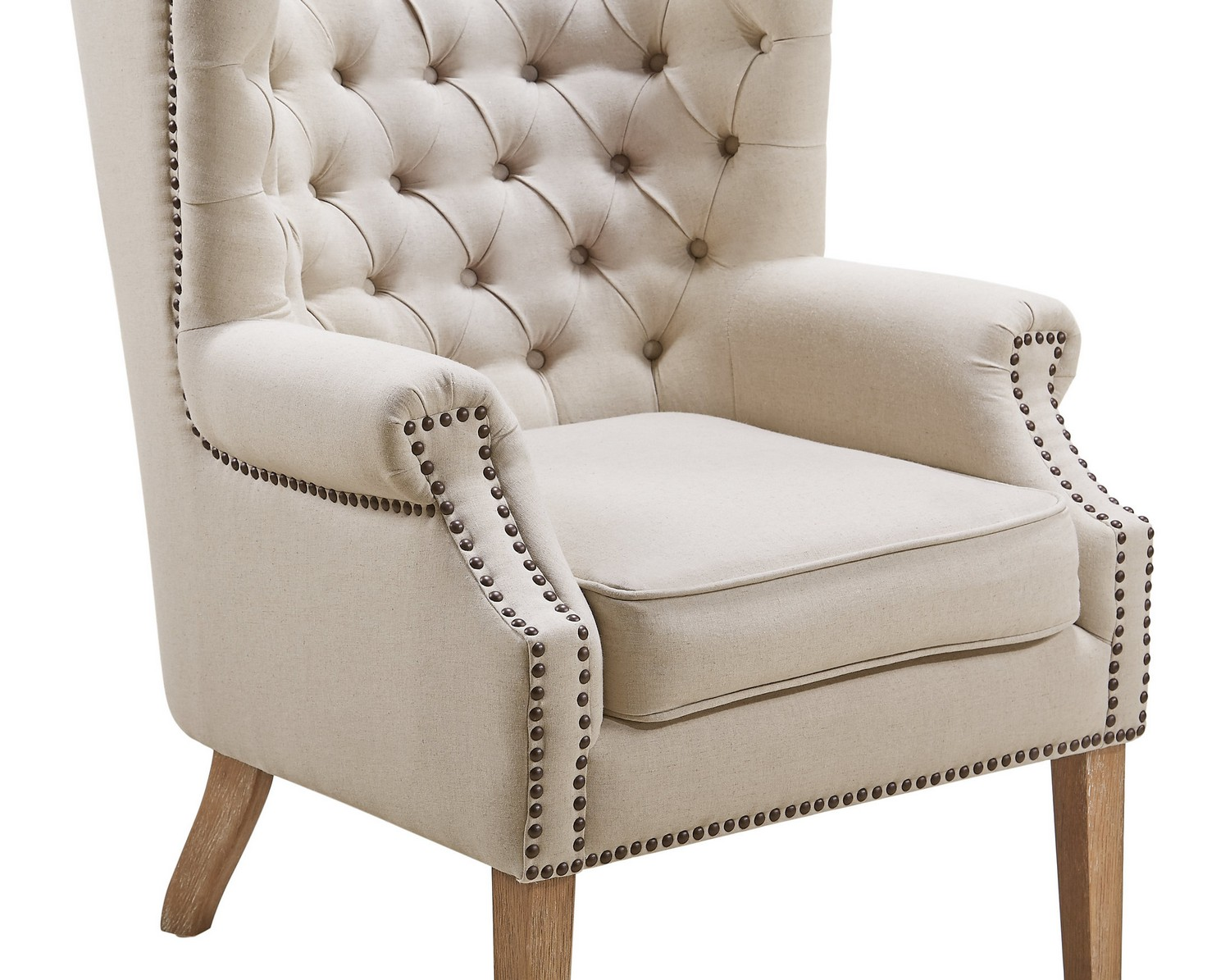 TOV Furniture Abe Beige Linen Wing Chair