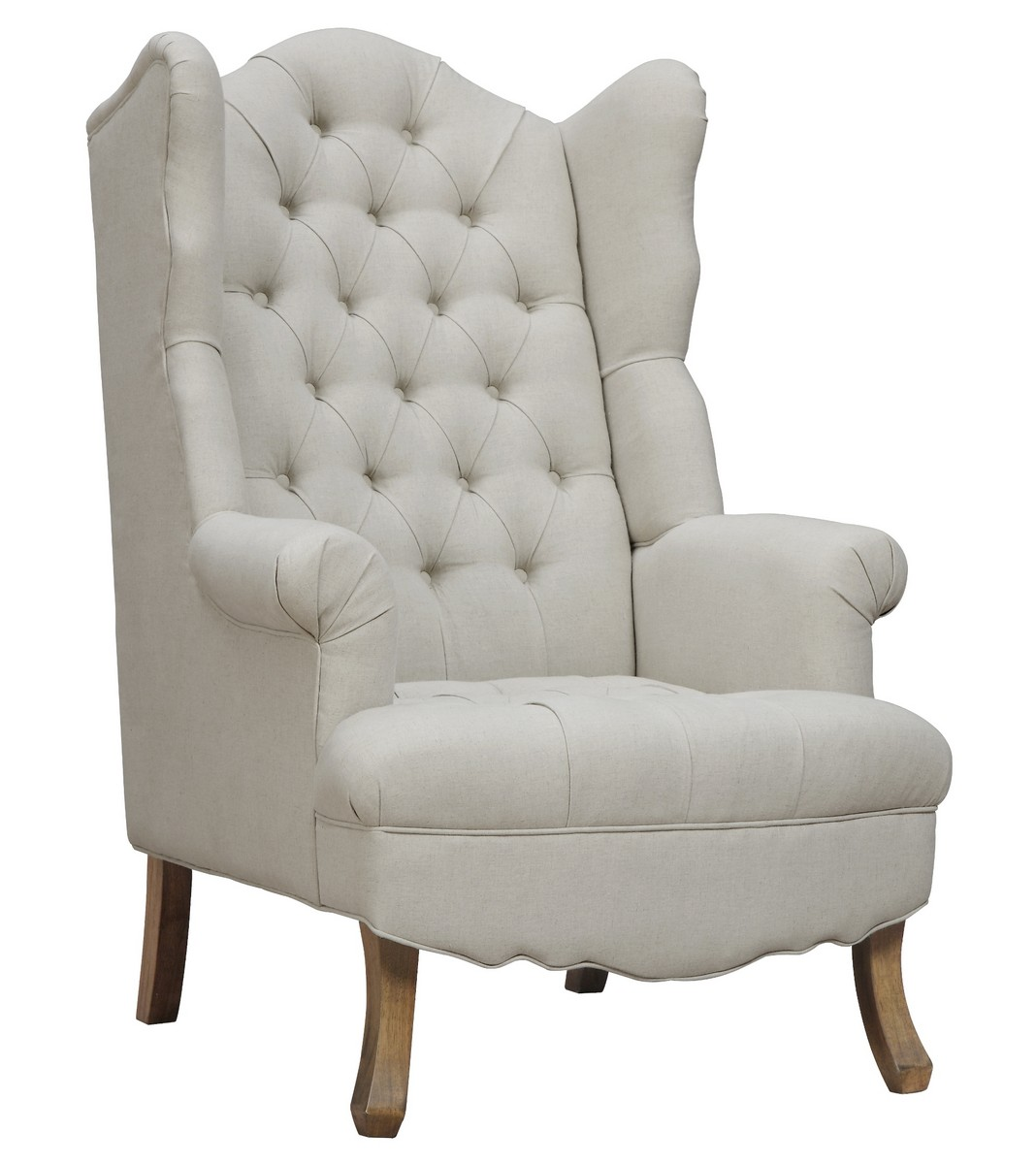 TOV Furniture Madison Beige Linen Wing Chair