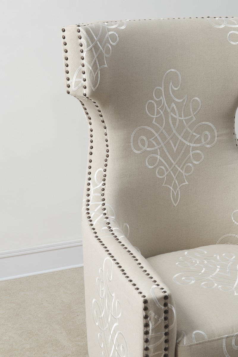 TOV Furniture Gramercy Embroidered Linen Wing Chair